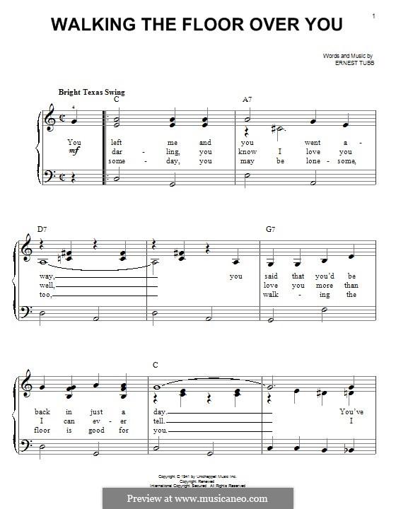 Walking the Floor Over You: Für Klavier by Ernest Tubb
