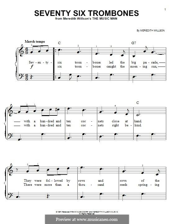 Seventy Six Trombones: Für Klavier by Meredith Willson