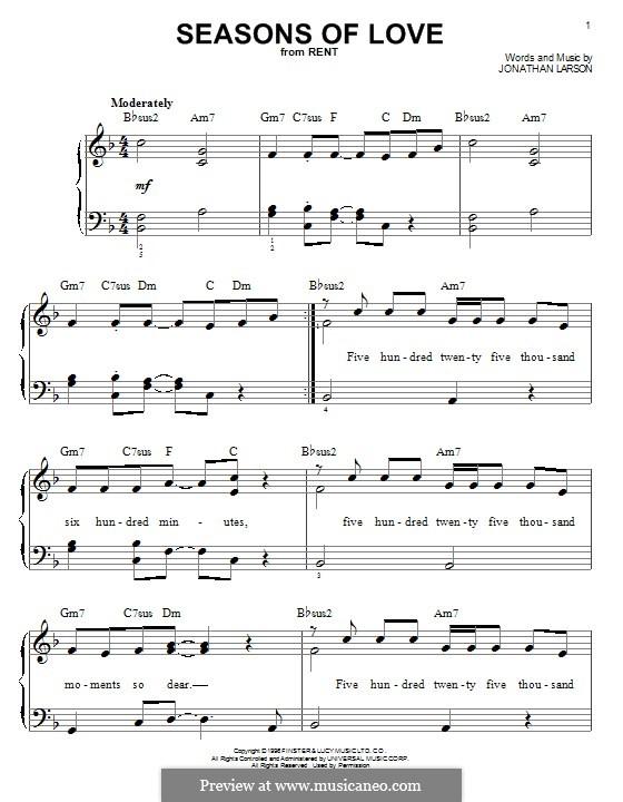 Seasons of Love (from Rent): Für Klavier by Jonathan Larson