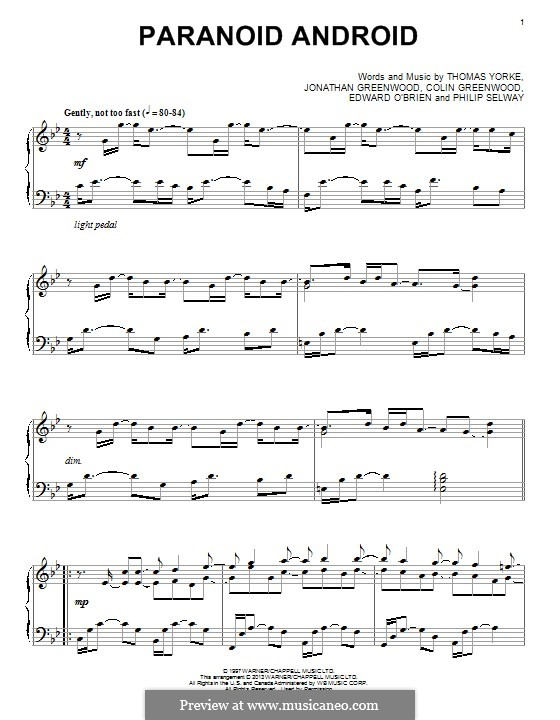 Paranoid Android (Radiohead): Für Klavier by Colin Greenwood, Ed O'Brien, Jonny Greenwood, Phil Selway, Thomas Yorke