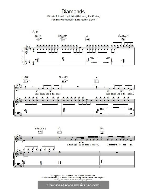 Diamonds (Rihanna): Für Stimme und Klavier (oder Gitarre) by Benjamin Levin, Mikkel Storleer Eriksen, Sia Furler