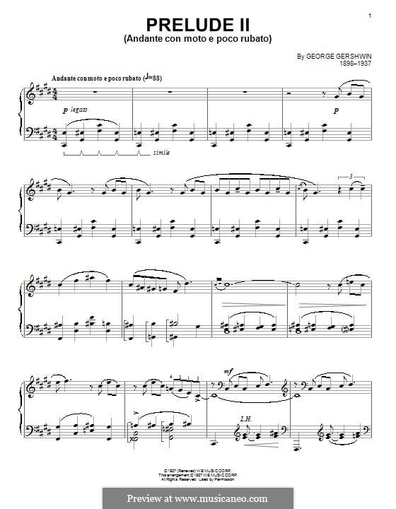 Drei Präludien für Klavier: Präludium Nr.2 in cis-Moll by George Gershwin