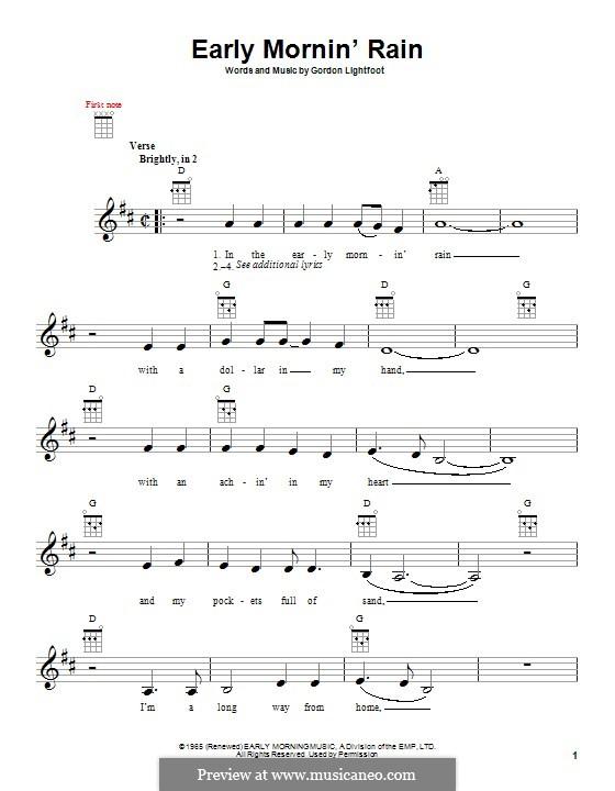 Early Morning Rain (Eva Cassidy): Für Ukulele by Gordon Lightfoot