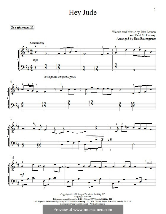 Hey Jude (The Beatles), for Piano: Für einen Interpreten by John Lennon, Paul McCartney