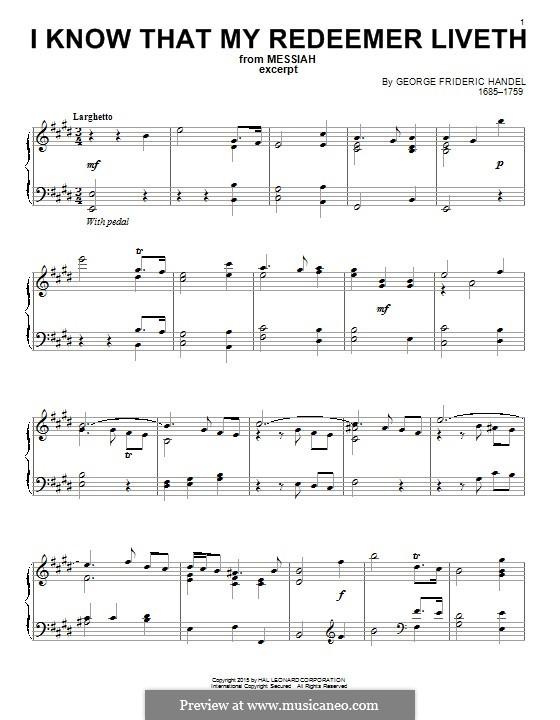 No.45 I Know That My Redeemer Liveth: Für Klavier by Georg Friedrich Händel