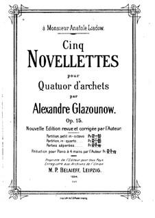 Fünf Noveletten für Streichquartett, Op.15: Vollständiger Satz – Partitur by Alexander Glazunov