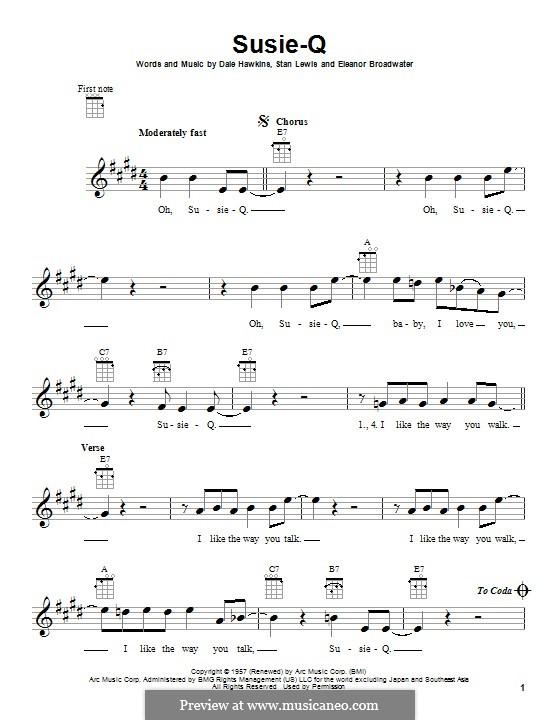 Susie-Q (Creedence Clearwater Revival): Für Ukulele by Dale Hawkins, Eleanor Broadwater, Stan Lewis