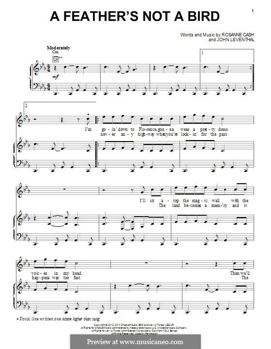 A Feather's not a Bird: Für Stimme und Klavier (oder Gitarre) by John Leventhal, Rosanne Cash