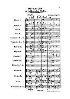 Ouvertüre für Orchestra im italienischer Stil in C-Dur, D.591 Op.170: Vollpartitur by Franz Schubert