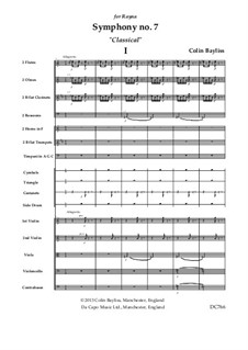Symphony No.7 'Classical', B168: Score only by Colin Bayliss