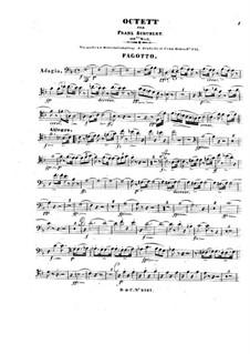 Oktett für Streicher und Bläser in F-Dur, D.803 Op.166: Fagottstimme by Franz Schubert