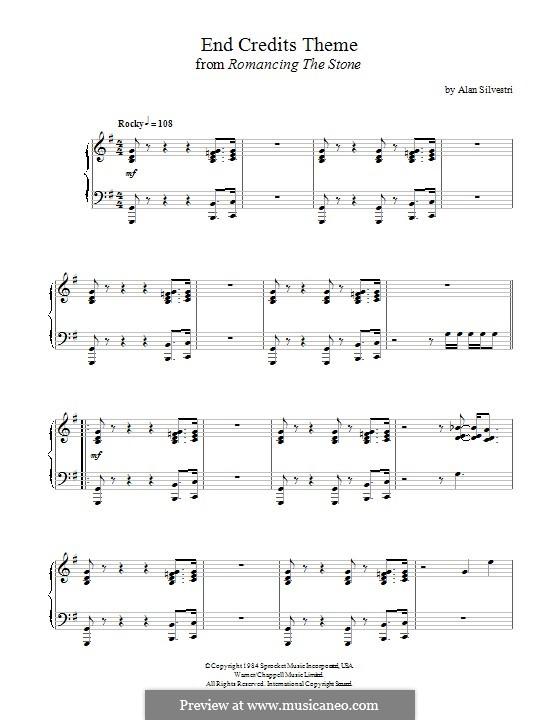 Romancing the Stone (End Credits Theme): Für Klavier by Alan Silvestri