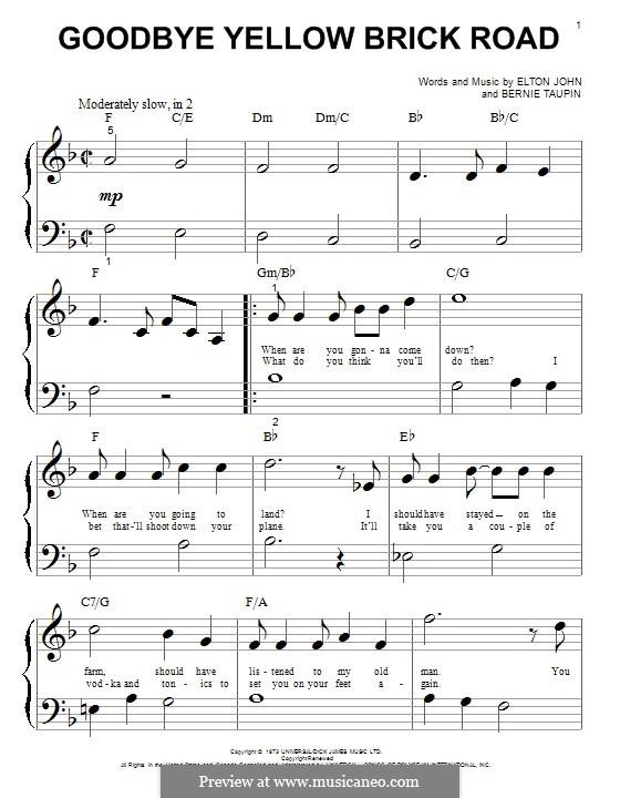 Goodbye Yellow Brick Road: Für Klavier by Elton John