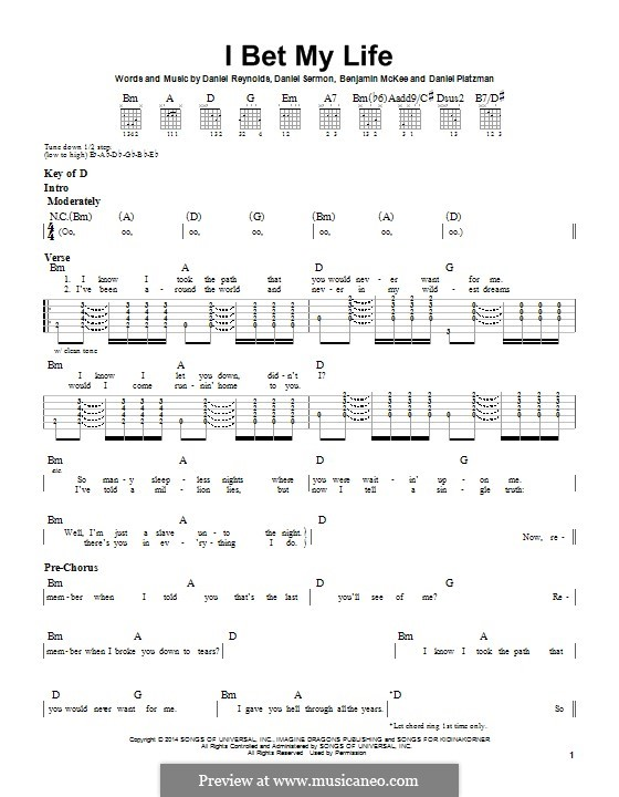 I Bet My Life (Imagine Dragons): Für Gitarre mit Tabulatur by Benjamin McKee, Daniel Reynolds, Daniel Sermon, Daniel Platzman