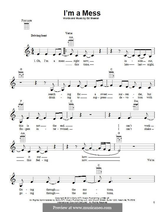 I'm a Mess: Für Ukulele by Ed Sheeran