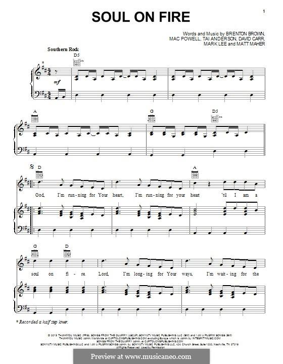 Soul on Fire (Third Day): Für Stimme und Klavier (oder Gitarre) by Matt Maher, Tai Anderson, David Carr, Mac Powell, Mark Lee, Brenton Brown