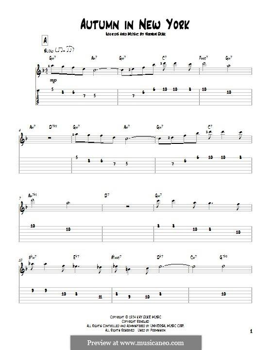 Autumn in New York: Für Gitarre mit Tabulatur by Vernon Duke
