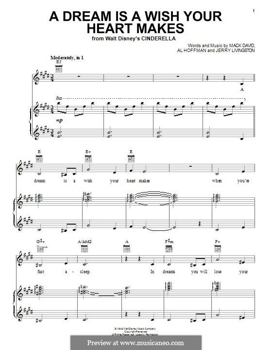 A Dream Is a Wish Your Heart Makes (from Disney's Cinderella): Für Stimme und Klavier (oder Gitarre) by Al Hoffman, Jerry Livingston, Mack David