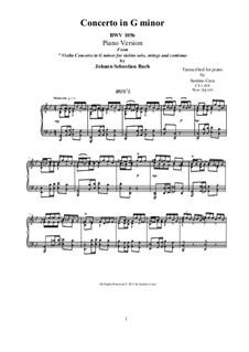 Konzert für Cembalo und Streicher Nr.5 in f-Moll, BWV 1056: Movement I. Arrangement for piano (G Minor) by Johann Sebastian Bach