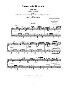 Konzert für Cembalo und Streicher Nr.5 in f-Moll, BWV 1056: Movement II. Arrangement for piano (G Minor) by Johann Sebastian Bach