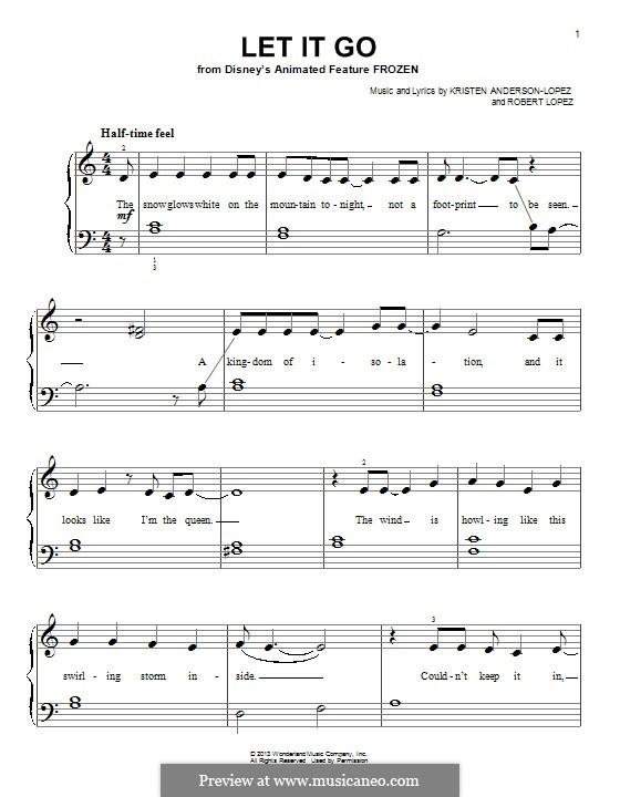 Let It Go (from Frozen): Für Klavier (mit Text) by Robert Lopez, Kristen Anderson-Lopez