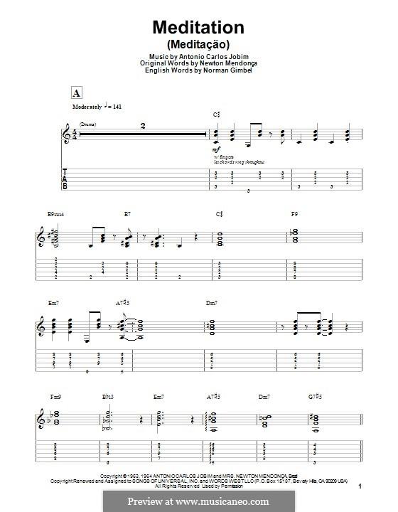 Meditation: Für Gitarre mit Tabulatur by Antonio Carlos Jobim
