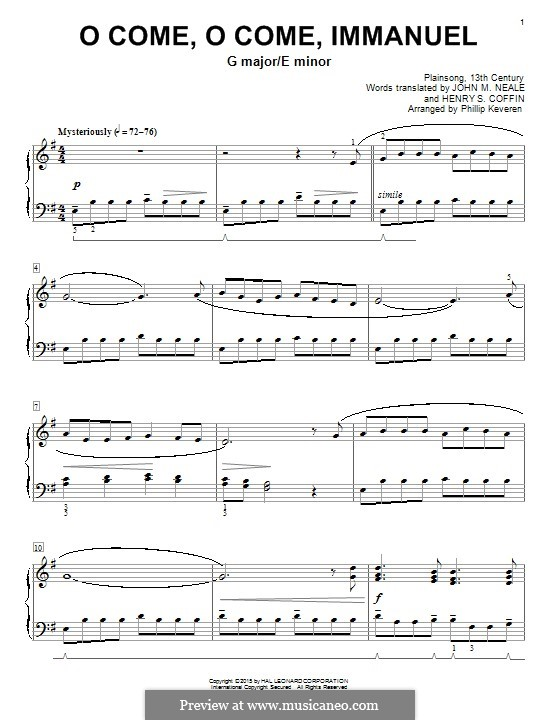 O Come, O Come, Emmanuel: Für Klavier by folklore