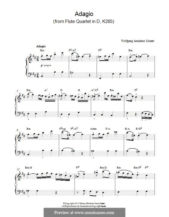Quartett für Flöte und Streicher Nr.28 in D-Dur, K.285: Adagio, for piano by Wolfgang Amadeus Mozart