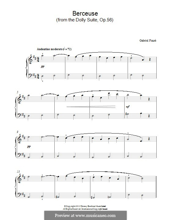 Dolly Suite, Op.56: No.1 Berceuse, for piano by Gabriel Fauré