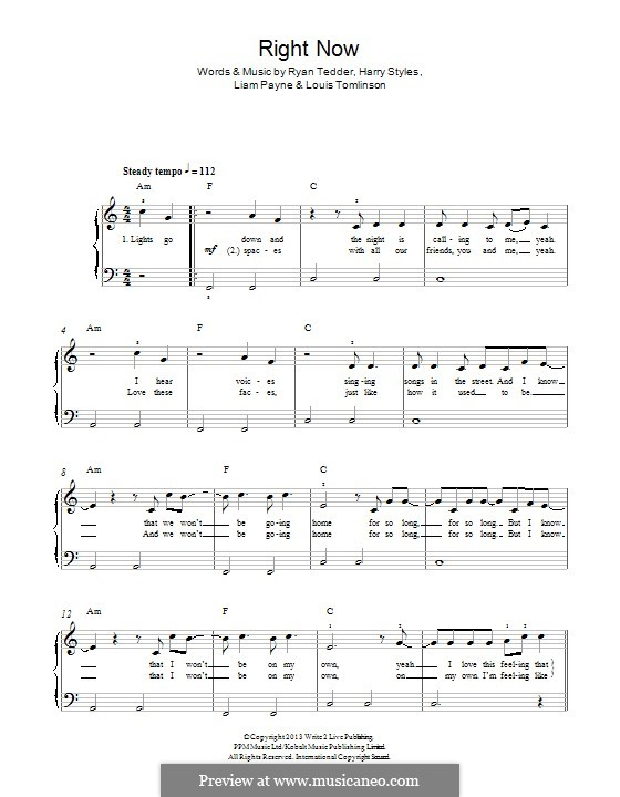 Right Now (One Direction): Für Klavier by Ryan B Tedder, Louis Tomlinson, Liam Payne, Harry Styles