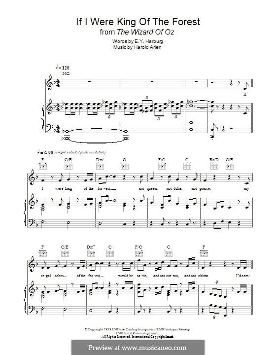 If I Were King of the Forest: Für Stimme und Klavier (oder Gitarre) by Harold Arlen