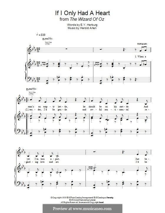 If I Only Had a Heart (from The Wizard of Oz): Für Stimme und Klavier (oder Gitarre) by Harold Arlen