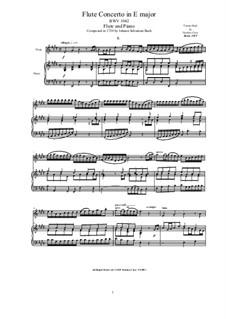 Konzert für Violine, Streicher und Basso Continuo Nr.2 in E-Dur, BWV 1042: Bearbeitung für Flöte und Klavier by Johann Sebastian Bach