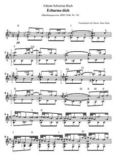 Nr.39 Arie 'Erbarme Dich, mein Gott': Für Gitarre by Johann Sebastian Bach