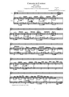 Konzert für Cembalo und Streicher Nr.5 in f-Moll, BWV 1056: Bearbeitung für Flöte und Klavier by Johann Sebastian Bach