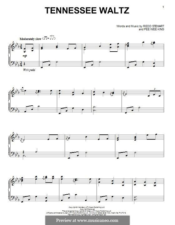 Tennessee Waltz (Patty Page): Für Klavier by Pee Wee King, Redd Stewart