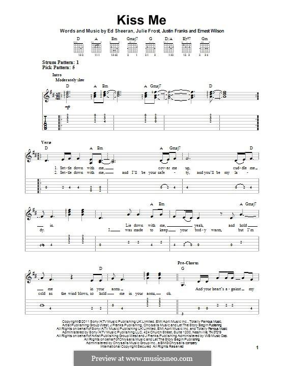 Kiss Me: Für Gitarre mit Tabulatur by Ed Sheeran, Julie Frost, Justin Franks