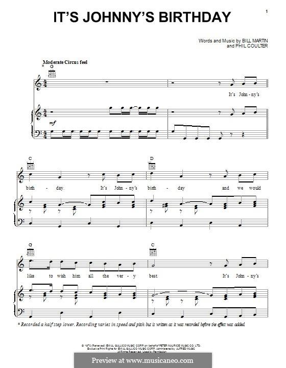 It's Johnny's Birthday: Für Stimme und Klavier (oder Gitarre) by Billy Martin, Phil Coulter