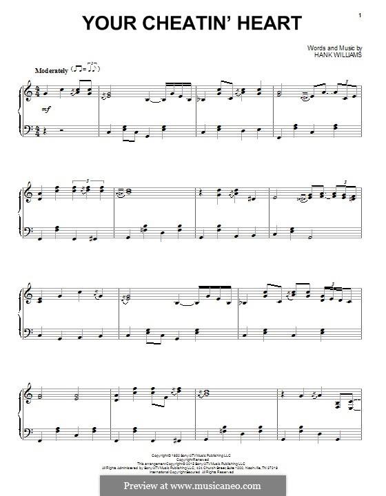 Your Cheatin' Heart: Für Klavier by Hank Williams