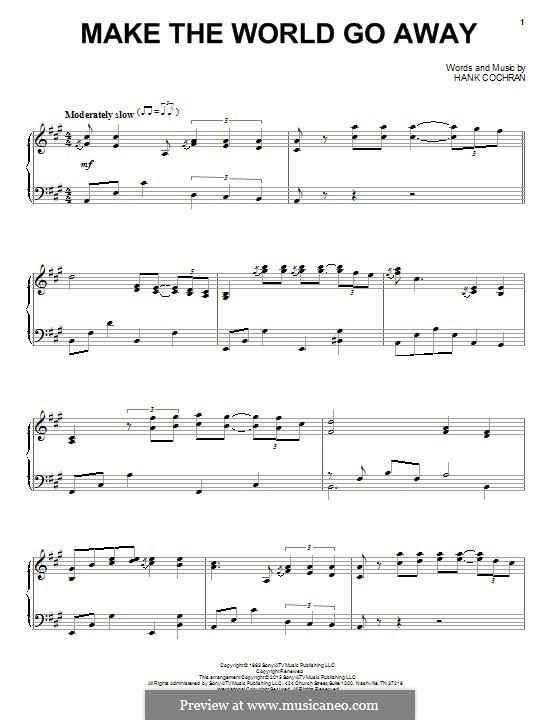 Make the World Go Away (Eddy Arnold): Für Klavier by Hank Cochran