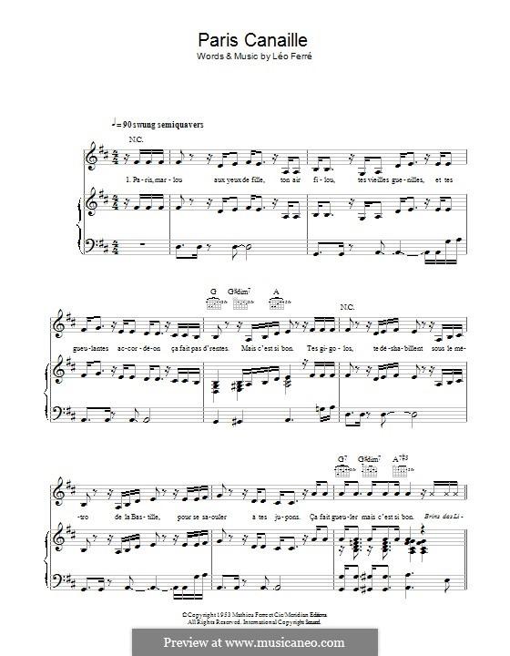 Paris Canaille (Zaz): Für Stimme und Klavier (oder Gitarre) by Leo Ferre