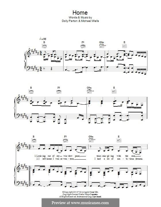 Home: Für Stimme und Klavier (oder Gitarre) by Dolly Parton, Michael Wells