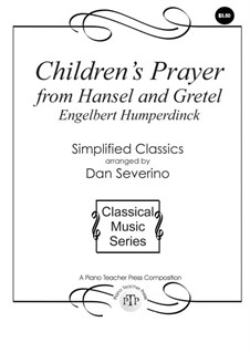 Hänsel und Gretel: Children's Prayer, for piano by Engelbert Humperdinck