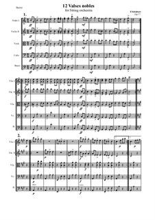 Valses nobles für Klavier, D.969 Op.77: Arrangement for string orchestra - score and parts by Franz Schubert