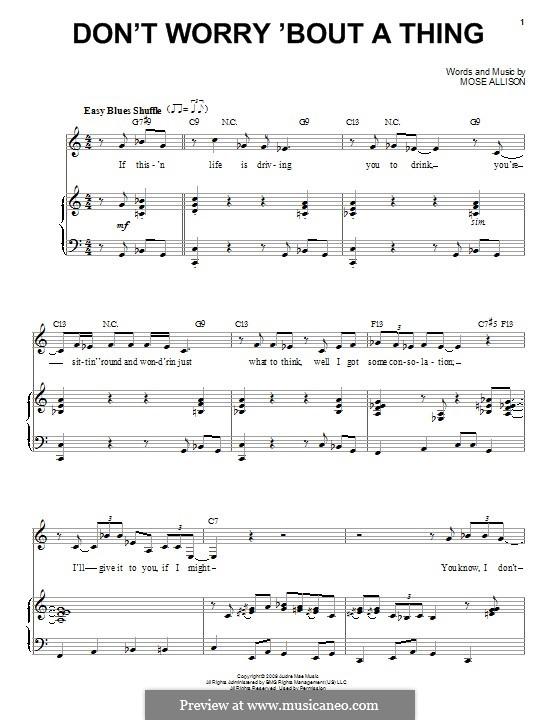 Don't Worry About a Thing (Van Morrison): Für Stimme und Klavier by Mose Allison