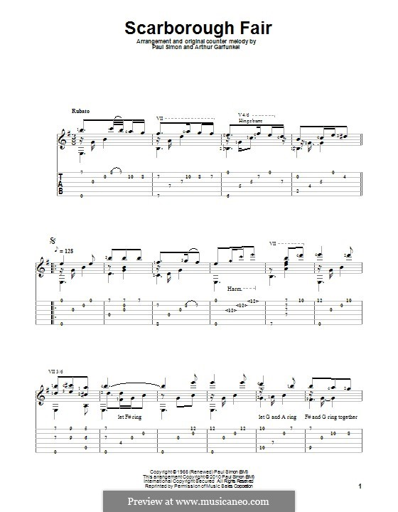 Scarborough Fair / Canticle: Für Gitarre mit Tabulatur by folklore