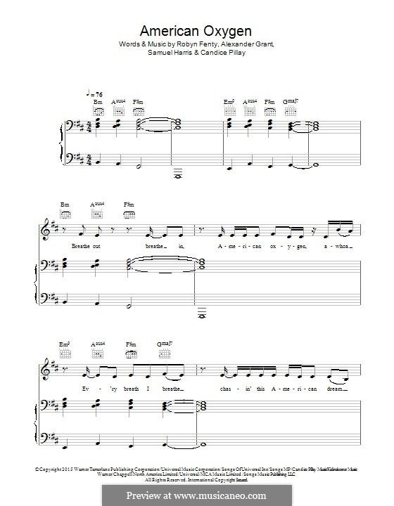 American Oxygen: Für Stimme und Klavier (oder Gitarre) by Alexander Grant, Rihanna, Candice Pillay, Samuel Harris