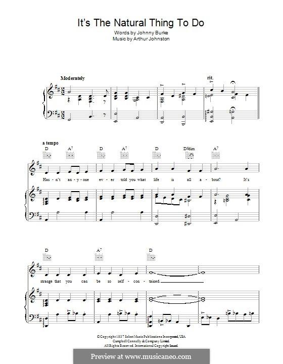 It's the Natural Thing To Do: Für Stimme und Klavier (oder Gitarre) by Arthur Johnston