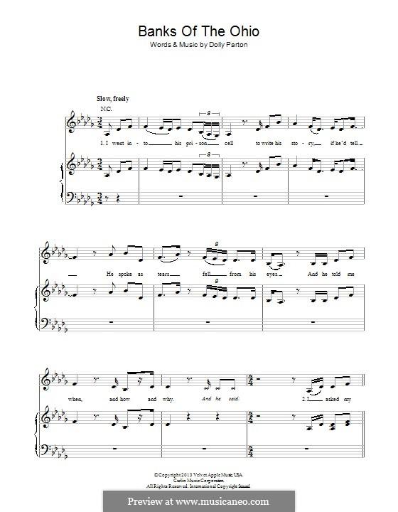 Banks of the Ohio: Für Stimme und Klavier (oder Gitarre) by Dolly Parton