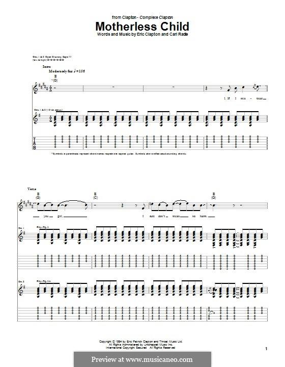 Motherless Child: Für Gitarre mit Tabulatur by Carl Radle, Eric Clapton